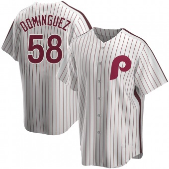 Youth Replica Philadelphia Phillies Seranthony Dominguez Home Cooperstown Collection Jersey - White